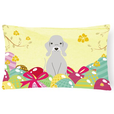 Easter Eggs Bedlington Terrier Lumbar Pillow Pillow Cover Color: Blue