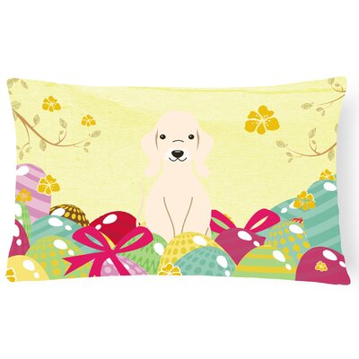 Easter Eggs Bedlington Terrier Lumbar Pillow Pillow Cover Color: Sandy