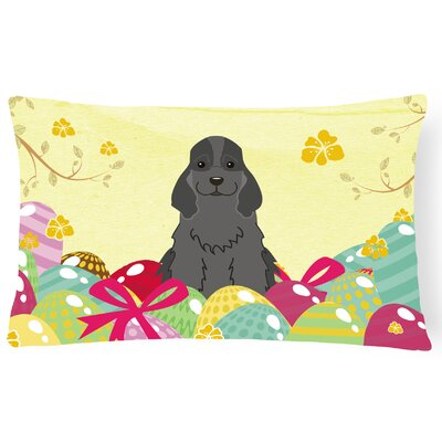 Easter Eggs Cocker Spaniel Lumbar Pillow Pillow Cover Color: Black