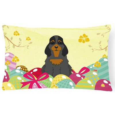 Easter Eggs Cocker Spaniel Lumbar Pillow Pillow Cover Color: Black/Tan