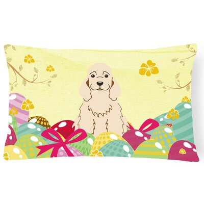 Easter Eggs Cocker Spaniel Lumbar Pillow Pillow Cover Color: Buff