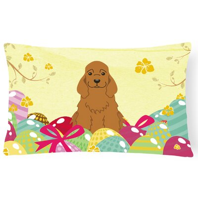 Easter Eggs Cocker Spaniel Lumbar Pillow Pillow Cover Color: Brown