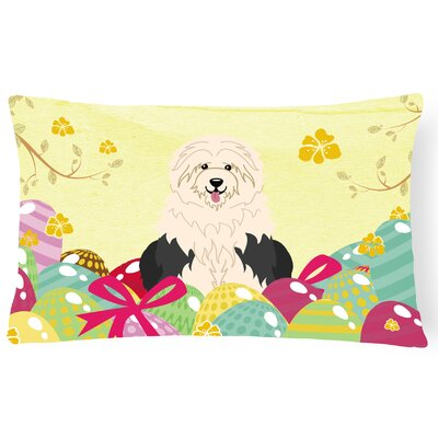 Easter Eggs Old English Sheepdog Lumbar Pillow