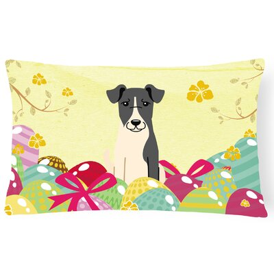 Easter Eggs Smooth Fox Terrier Lumbar Pillow