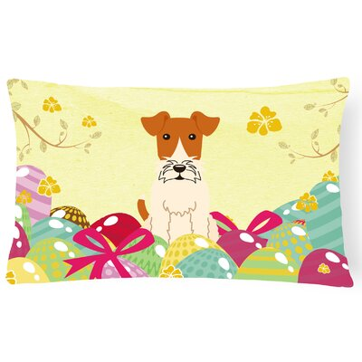 Easter Eggs Wire Fox Terrier Lumbar Pillow
