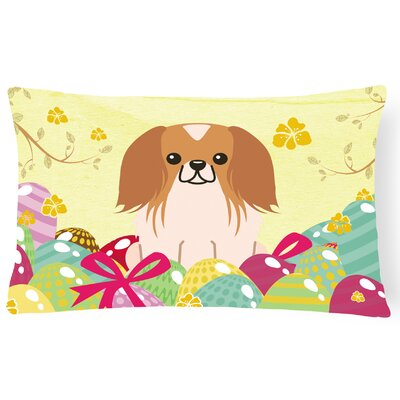 Easter Eggs Pekingnese Lumbar Pillow Pillow Cover Color: Brown/White
