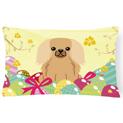 Easter Eggs Pekingnese Lumbar Pillow Pillow Cover Color: Fawn/Sable