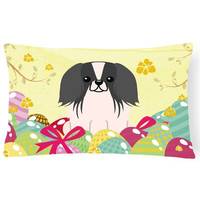 Easter Eggs Pekingnese Lumbar Pillow Pillow Cover Color: Black/White