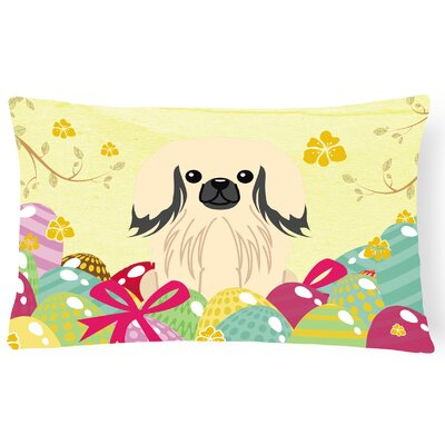 Easter Eggs Pekingnese Lumbar Pillow Pillow Cover Color: Cream