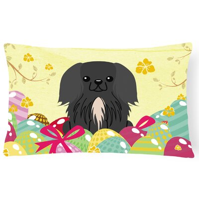Easter Eggs Pekingnese Lumbar Pillow Pillow Cover Color: Black