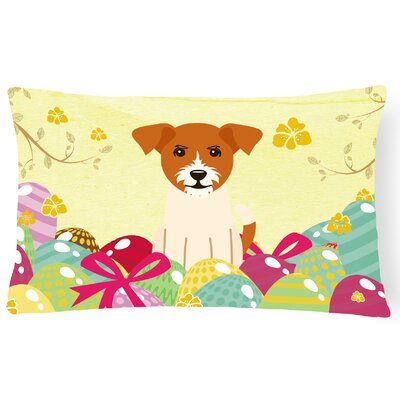Easter Eggs Jack Russell Terrier Lumbar Pillow