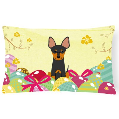 Easter Eggs English Toy Terrier Lumbar Pillow