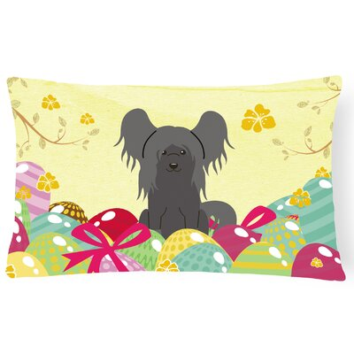 Easter Eggs Chinese Crested Lumbar Pillow