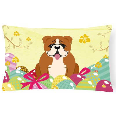 Easter Eggs English Bulldog Rectangular Lumbar Pillow Pillow Cover Color: Brown/White
