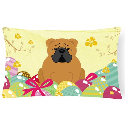 Easter Eggs English Bulldog Lumbar Pillow Pillow Cover Color: Brown