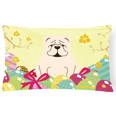 Easter Eggs English Bulldog Lumbar Pillow Pillow Cover Color: White