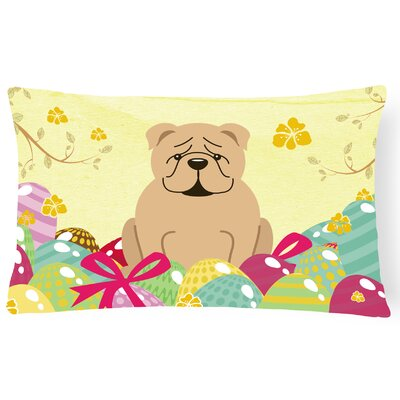 Easter Eggs English Bulldog Lumbar Pillow Pillow Cover Color: Fawn