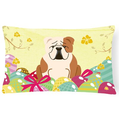 Easter Eggs English Bulldog Lumbar Pillow Pillow Cover Color: Fawn/White