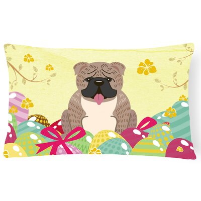 Easter Eggs English Bulldog Rectangular Lumbar Pillow Pillow Cover Color: Gray