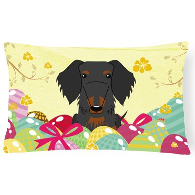 Easter Eggs Wire Haired Dachshund Decorative Pillow Pillow Cover Color: Black/Tan