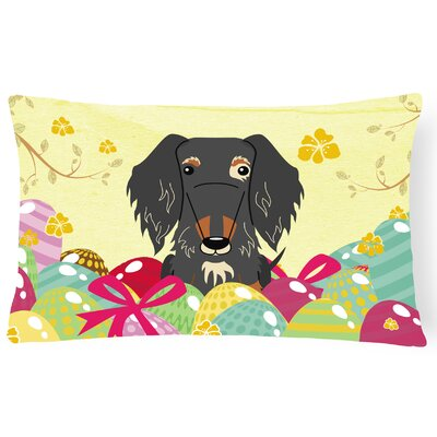Easter Eggs Wire Haired Dachshund Decorative Pillow Pillow Cover Color: Dapple