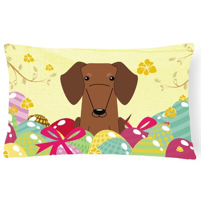 Easter Eggs Dachshund Lumbar Pillow Pillow Cover Color: Brown