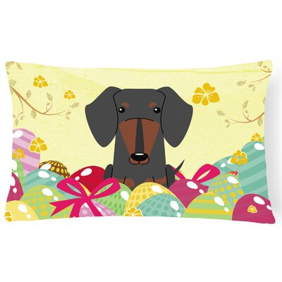 Easter Eggs Dachshund Lumbar Pillow Pillow Cover Color: Black