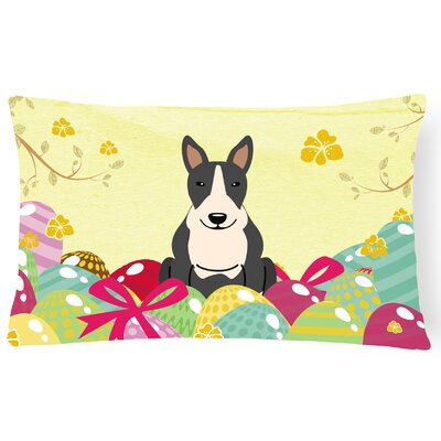 Easter Eggs Bull Terrier Outdoor Lumbar Pillow