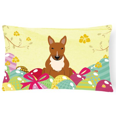 Easter Eggs Rectangular Bull Terrier Outdoor Lumbar Pillow