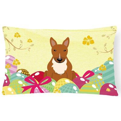 Easter Eggs Rectangular Bull Terrier Outdoor Lumbar Pillow