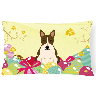 Easter Eggs Rectangular Bull Terrier Lumbar Pillow