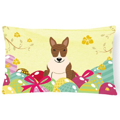Easter Eggs Bull Terrier Rectangular Lumbar Pillow