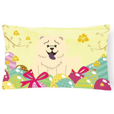 Easter Eggs Rectangular Chow Chow Lumbar Pillow Pillow Cover Color: White
