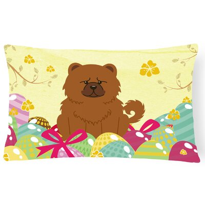 Easter Eggs Chow Chow Lumbar Pillow Pillow Cover Color: Brown