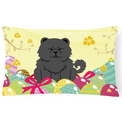 Easter Eggs Chow Chow Lumbar Pillow Pillow Cover Color: Black