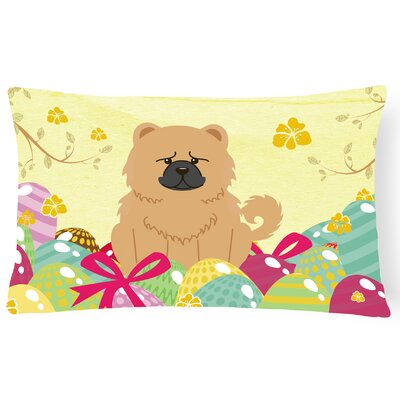 Easter Eggs Chow Chow Lumbar Pillow Pillow Cover Color: Cream