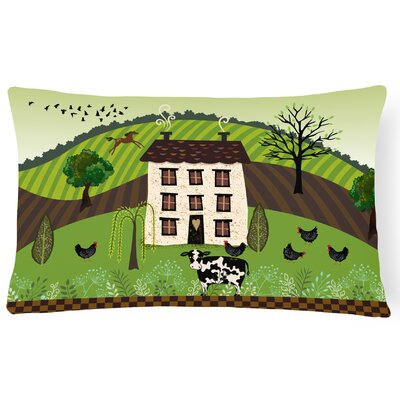 Lovetts Folk Art Country House Lumbar Pillow