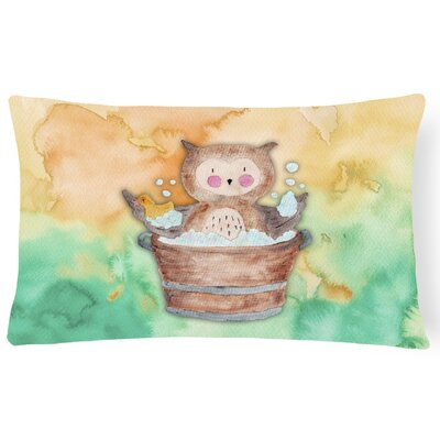 Harry Owl Bathing Watercolor Lumbar Pillow