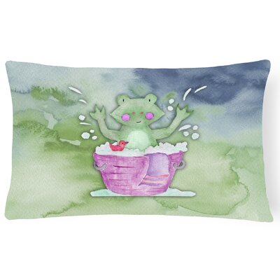 Harvey Frog Bathing Watercolor Lumbar Pillow