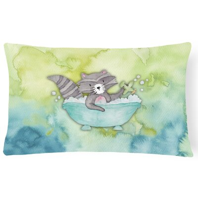 Karly Raccoon Bathing Watercolor Lumbar Pillow