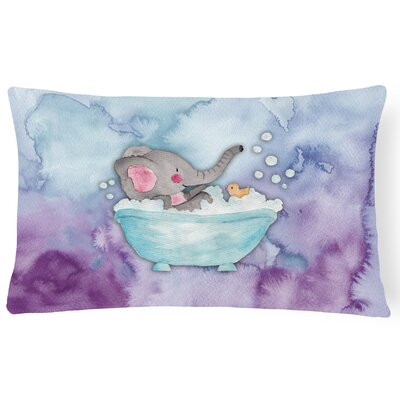 Katherine Elephant Bathing Watercolor Lumbar Pillow