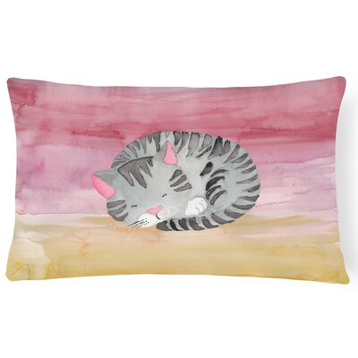 Keagan Sleeping Cat Watercolor Lumbar Pillow
