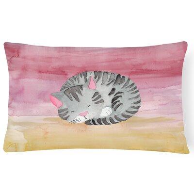 Keagan Sleeping Cat Watercolor Lumbar Pillow
