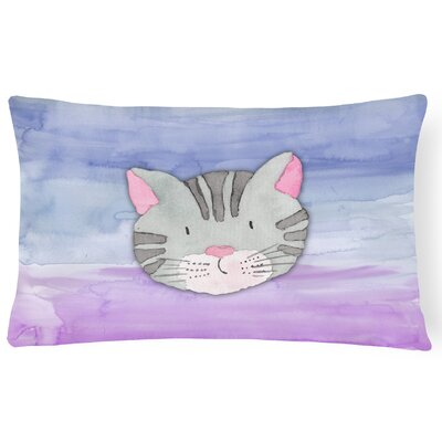 Marquis Cat Face Watercolor Lumbar Pillow