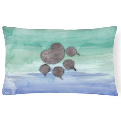 Marshall Cat Paw Watercolor Lumbar Pillow
