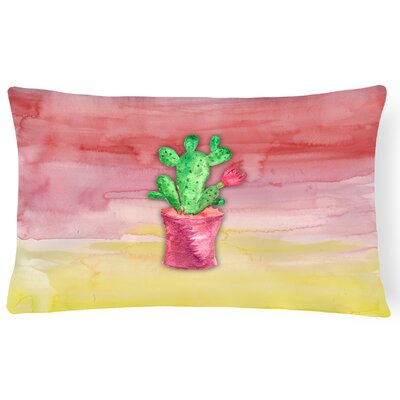 Flowering Cactus Watercolor Lumbar Pillow