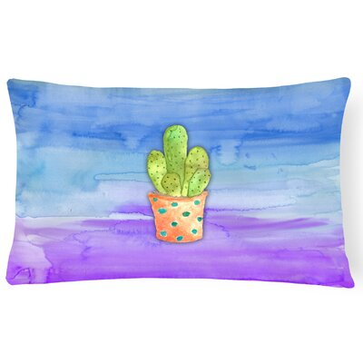 Modern Cactus Watercolor Lumbar Pillow