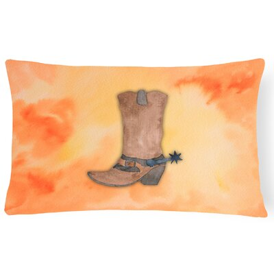 Aurelia Cowboy Boot Watercolor Lumbar Pillow