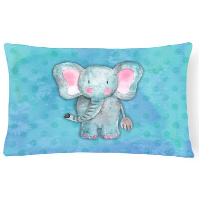 Aurora Elephant Watercolor Lumbar Pillow