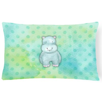 Hippopotamus Watercolor Lumbar Pillow